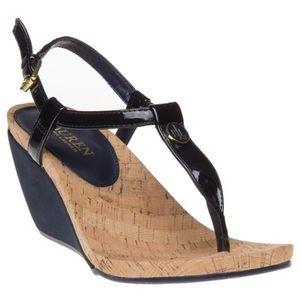 NWOT Ralph Lauren Reeta Suade Wedge Heel Sandals